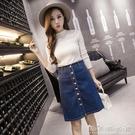 韓風學生一排扣高腰牛仔裙秋季新款百搭顯瘦A字短裙半身裙潮晴天時尚