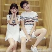 情侶裝夏裝新款韓版男短袖T恤衫上衣學生連身裙民族風裙子女 至簡元素