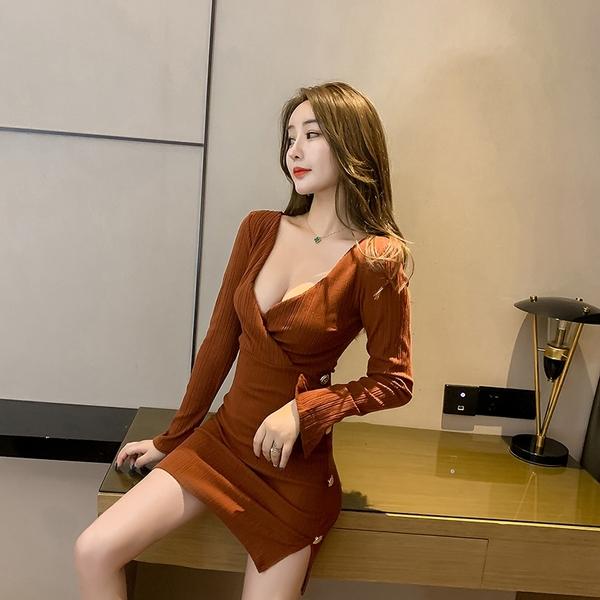 出清388 韓國風氣質低胸V領夜店修身包臀性感長袖洋裝
