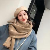 圍巾女冬季韓版百搭仿羊絨學生軟妹秋冬新款保暖加厚條紋雙面圍脖    易家樂