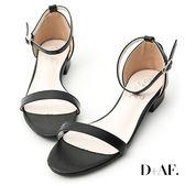 D+AF 簡約美學.一字繫踝低跟涼鞋*黑