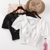 特惠短袖襯衫純色高腰短款T恤女夏季新款韓版V領褶皺襯衫修身百搭短袖上衣交換禮物