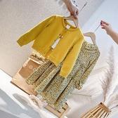 洋裝 單/童裝春秋裝新品女童韓系針織開衫復古雪紡洋裝連衣裙兩件套裝 快速出貨