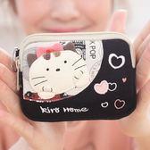愛貓咪女韓國帆布藝硬幣雙層小零錢包
