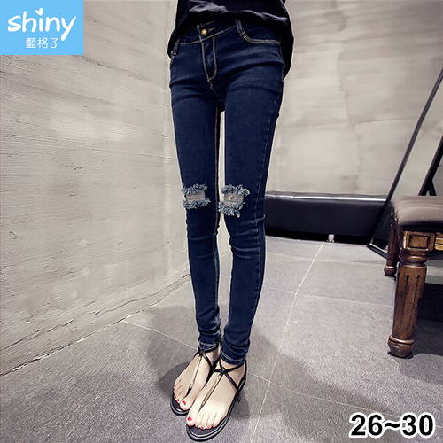【V2319】shiny藍格子-完美顯瘦.膝蓋破洞緊身鉛筆小腳九分褲