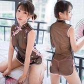 情趣內衣性感透視網紗制服騷三點式激情套裝小胸旗袍開襠露乳用品 草莓妞妞