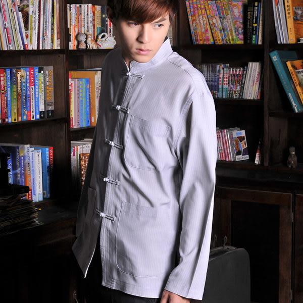 【大尺碼-ST-14-3】森奈健-夏季長袖唐裝(立領-灰色條紋)