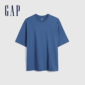 Gap女裝 厚磅密織系列基本款寬鬆廓形短袖T恤 701590-藍色