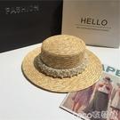熱賣平頂帽手工珍珠配飾麥稈色沙灘平頂草帽女遮陽度假防曬太陽帽女 coco