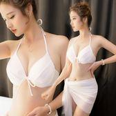 泳衣比基尼白色小胸聚攏泳衣性感三點式韓國溫泉游泳衣 全館八折 限時三天!