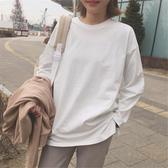 長袖T恤女 秋冬2018新款小衫正韓純白色T恤女長袖學生百搭上衣寬鬆打底衫潮
