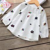萬聖節狂歡   女童襯衫長袖1-3歲兒童上衣春秋娃娃衫薄嬰兒襯衣純棉5寶寶秋裝女  mandyc衣間