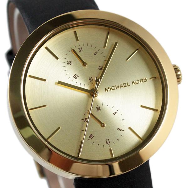 【萬年鐘錶】Michael Kors 都會時尚腕錶 金殼 黑皮帶 MK2574