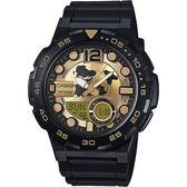 CASIO 卡西歐 10-YEAR BATTERY街頭玩酷雙顯腕錶-黑金/47mm AEQ-100BW-9AVDF / AEQ-100BW-9A