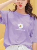 短袖T恤2020年夏季新款小雛菊短袖T恤女寬鬆韓版網紅ins潮紫色半袖上衣服 小天使