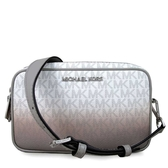 MICHAEL KORS Connie 銀字滿版MK皮革滾邊寬帶雙層相機包 斜背包(白色漸層)-35S9SI7M1V
