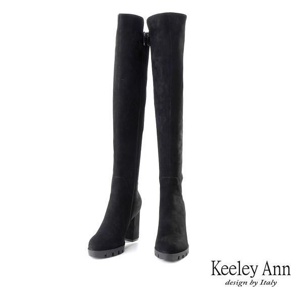 ★2019秋冬★Keeley Ann經典素面 逆天長腿厚底高跟膝上靴(黑色) -Ann系列