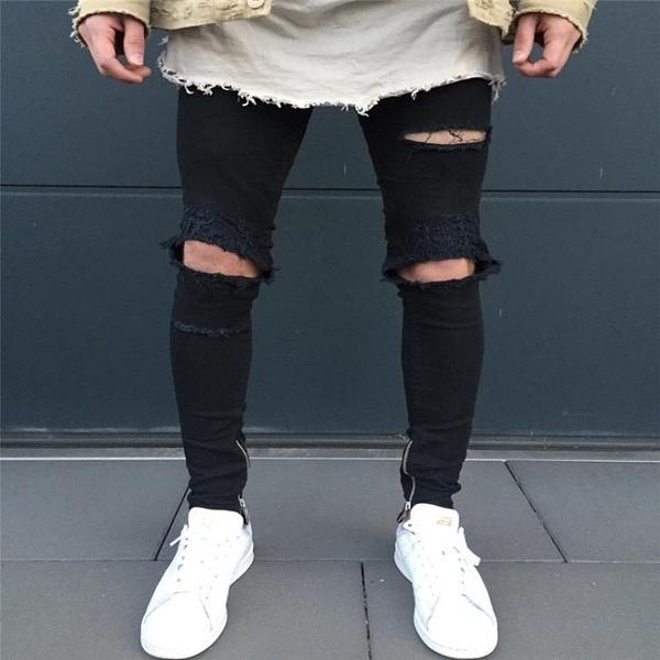 新品特惠# Men's biker pants fashion knee fold Slim zipped ripped jeans