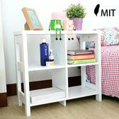 收納櫃 秋田二層四格隔間書櫃書架 展示櫃 二層床頭櫃 白色台灣製造《YV8666》HappyLife