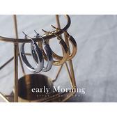 early Morning - 鈦鋼 極簡 第一章 圓圈耳環 2.8cm 粗款 防過敏【CC100】