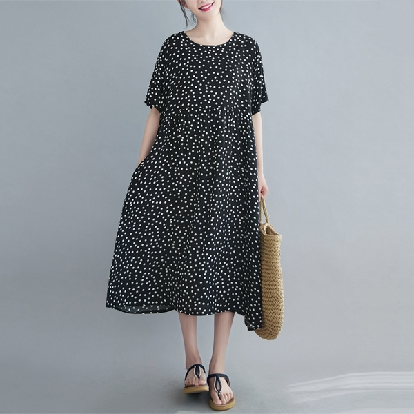 洋裝 - K6819 點點氣質長版洋裝【F碼】