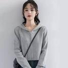 2021秋季新款灰色連帽短版衛衣外套女寬鬆春秋百搭學生拉鍊開衫潮開衫棉罩衫