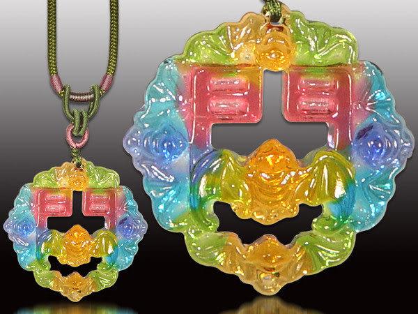 鹿港窯~居家開運水晶琉璃項鍊~五福臨門(蝙蝠、門) 附精美包裝◆免運費送到家