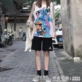 運動短褲女夏季薄款2020新款寬鬆直筒港味純棉中褲高腰外穿五分褲 怦然心動