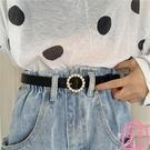 腰帶圓扣珍珠鑲嵌皮帶女裝飾簡約百搭牛仔褲【匯美優品】