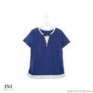 【INI】簡約休閒、質感舒服領口造型上衣.深藍色