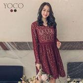 東京著衣【YOCO】喜酒第一名V領蕾絲長袖洋裝-S.M.L(172655)