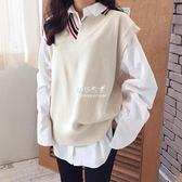 馬甲毛衣  韓版新品學院風大碼寬鬆拼色V領毛衣背心套頭針織馬甲女 『伊莎公主』
