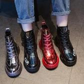 [E家人]厚底增高鞋女歐洲站馬丁靴女秋冬季新款厚底網紅高幫女鞋加絨休閒運動短靴