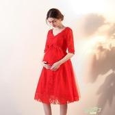 新娘結婚孕婦敬酒服回門服中長版紅色大尺碼晚禮服中袖新品夏季 【618促銷】