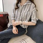 民族風七分袖口袋條紋襯衫 CC KOREA ~ Q17754