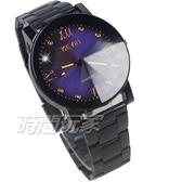 KEVIN 羅馬晶鑽造型時尚流行錶 立體多角切割鏡面 學生錶 防水手錶 IP黑電鍍 男錶 KV2068B藍大