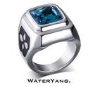Wateryang. 免費刻字 頂級白鋼× 冰藍世界-Sapphire藍鑽戒指