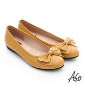 A.S.O 親漾漫步 真皮鉚釘蝴蝶結飾格紋平底鞋  正黃