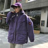 春秋新款韓版外套女學生寬鬆大口袋bf百搭字母工裝夾克原宿風衣女