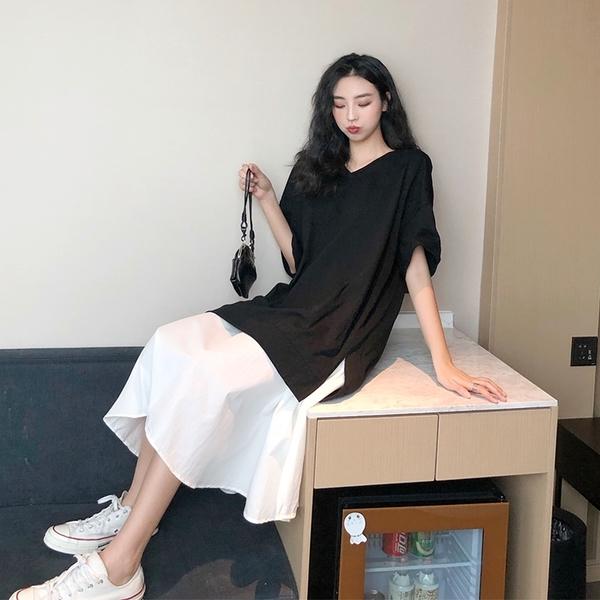 VK旗艦店 韓國風寬鬆休閒簡約V領經典黑白拼接裙擺長裙短袖洋裝
