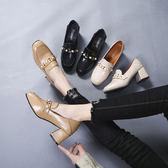 高跟鞋女女鞋春季復古百搭方頭粗跟奶奶單鞋女淺口樂福鞋 優家小鋪