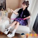 女童jk制服兒童百褶裙半身裙格子夏季套裝短裙【淘嘟嘟】