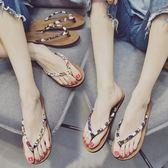 人字拖女夏天防滑時尚外穿黑色涼拖鞋厚底坡跟夾腳沙灘鞋 盯目家