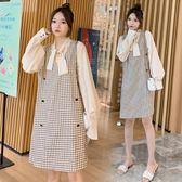 小中大碼M-4XL 大碼女裝格子背心裙 襯衣裙兩件套套裝連衣裙4F120.1617韓依紡