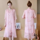 大尺碼洋裝真絲連身裙中長款修身飄逸仙女刺繡寬鬆a子裙 降價兩天