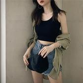 港味短款內搭打底無袖吊帶上衣女春夏黑色泫雅外穿緊身露臍小背心 「雙10特惠」