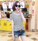 春夏 新品 女裝 短袖 T恤 大尺碼 胖MM 條紋 修身 顯瘦 條紋 打底 上衣