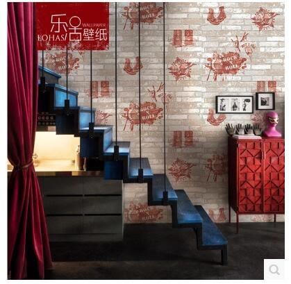 夏洛克3D立體磚紋磚塊磚頭咖啡廳個性壁紙復古時尚搖滾風酒吧牆紙