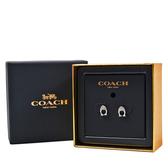 美國正品 COACH 水鑽C字耳針式耳環禮盒-銀色【現貨】