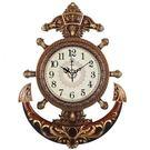 掛鐘20英寸歐式舵手掛鐘客廳靜音藝術石英鐘錶海盜船舵時鐘    都市時尚DF